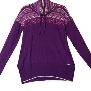 Avalanche Purple Fair Isle Pullover Pocket Sweater
